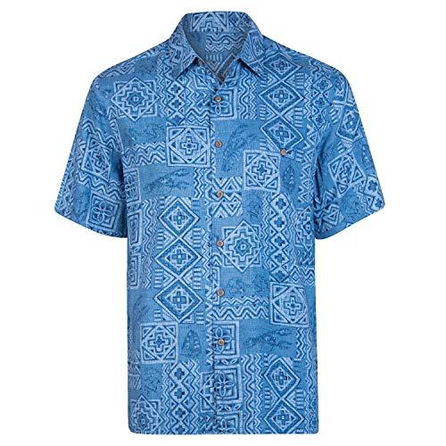 - Campia Men's Rayon Print Shirt Big and Tall (Tonal Printed Batik Marine, 3X)