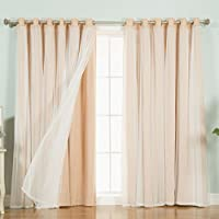 Best Home Fashion Lace Tulle Overlay Solid Blackout Thermal Grommet Single Curtain, 80 W x 84 L Each Panel, Indiepink