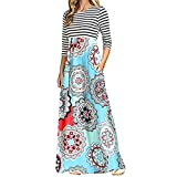 aliveGOT Women's Striped Floral Print Long Sleeve Tie Waist Maxi Dress with Pockets (Light Blue, L)