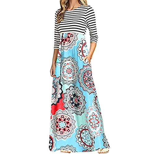 aliveGOT Women's Striped Floral Print Long Sleeve Tie Waist Maxi Dress with Pockets (Light Blue, L) by aliveGOT (Image #8)