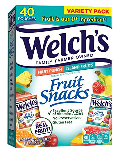 Welch's Fruit Snacks, Fruit Punch & Island Fruits Variety Pack, Gluten Free, Bulk Pack, 0.9 oz Individual Single Serve Bags (Pack of 40)