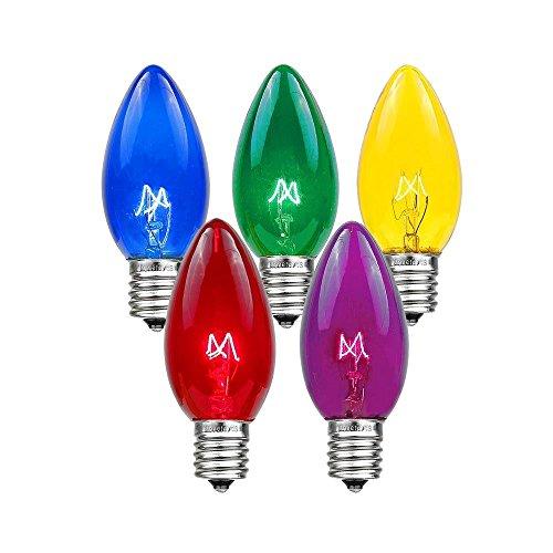 Novelty Lights 25 Pack C7 Twinkle Outdoor String Light Christmas Replacement Bulbs, Multi, C7/E12 Candelabra Base, 7 Watt ()