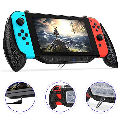 Charging Grip Case for Nintendo Switch, Vivefox Ergonomic Switch Charging Case Quick Charge Compatible 5V 2A Protective Case for Nintendo Switch Charge and Play Kit 2019 Latest Version (Crack-Black)