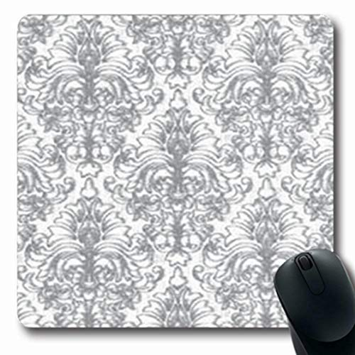 ArtsDecor Mousepads Jacobean Natural Vintage Grunge Pattern Damask Hand Wear Abstract Gray Royal Floral Baroque Graphic Oblong Shape 7.9 x 9.5 Inches Oblong Gaming Mouse Pad Non-Slip Mouse Mat