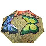 "Anuschka Umbrella AUTO Open/Close | UPF 50+ Max Sun protection | 38"" Waterproof Canopy | Fits in Handbag | Windproof Flexible Fiberglass | Earth Song"
