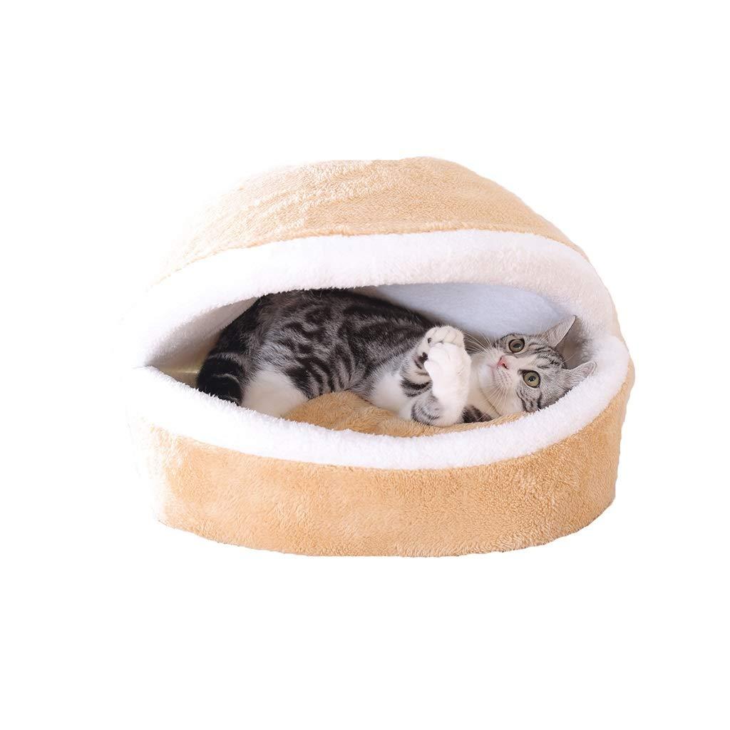 Button 463526cm Button 463526cm LIZHIQIANG Cat Bed, Closed Pet Bed, Four Seasons Universal Keep Warm Cat Sleeping Bag, Mat Washable Detachable (2 Styles, 2 Sizes) (color   Button, Size   46  35  26cm)