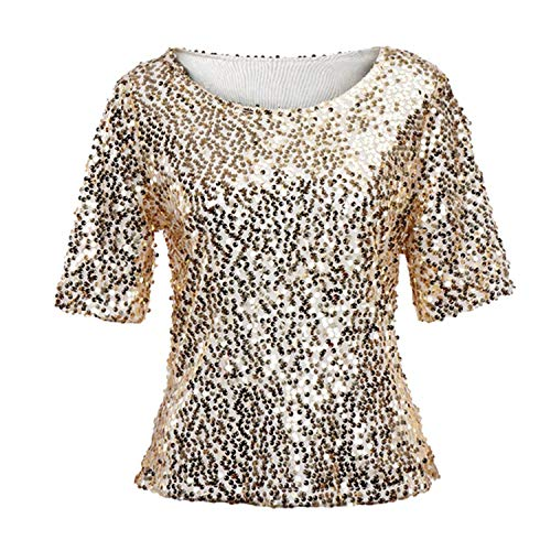 Price comparison product image TIFENNY Fashion Sexy Half Sleeve Shirt for Women Shining Sequins Sparkle Coctail Party Casual Tops Blouse Crop