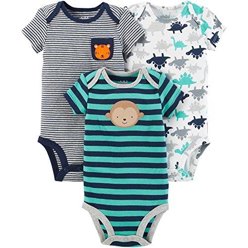 Carter's Child of Mine Baby Boys 3 Pack Bodysuit Set (6-12 Months, Navy Multi Pack) ()