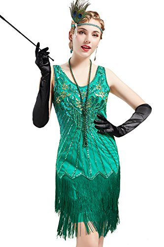 BABEYOND Women's Flapper Dresses 1920s V Neck Beaded Fringed Dress Dress Great Gatsby Dress
