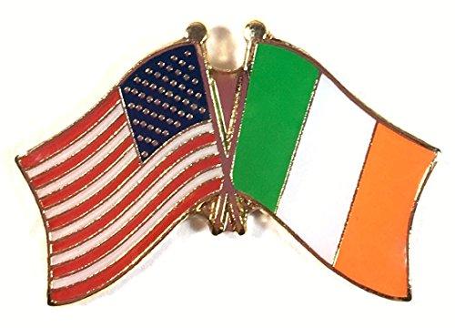 Box of 12 Ireland & US Crossed Flag Lapel Pins, Irish & American Double Friendship Pin Badge
