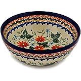 Polish Pottery Bowl 7-inch Mexican Flame UNIKAT