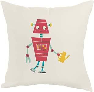 مخدة، قماش كانفس 40cm X 40cm،  بتصميم رسوم كرتونية - روبوت مزارع
