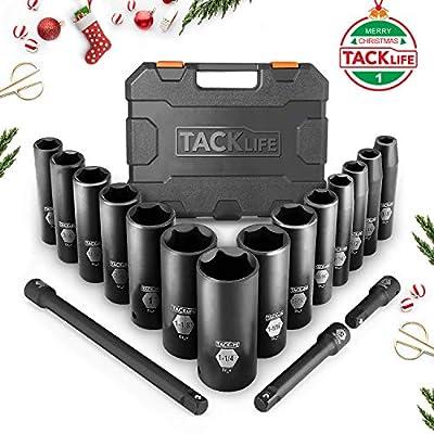 Drive Impact Socket Set, Tacklife 17pcs 1/2-inch Drive Deep Impact Socket Set, 6 Point, 3/8 - 1-1/4 inch, 14pcs Inch Sockets with 3pcs 1/2-Inch Drive Impact Extension Bar Set - HIS2A