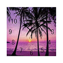 FUWANK Square Wall Clock Battery Operated Quartz Analog Quiet Desk 8 Inch Clock, Palm Trees Silhouette at Sunset Dreamy Dusk Warm Twilight