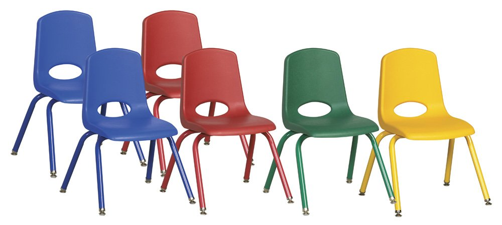 ECR4Kids 14'' School Stack Chair, Powder Coated Legs and Nylon Swivel Glides, Assorted (6-Pack)