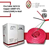 4 wire fire - Fire Alarm Wire Cable, 16 AWG, 4 Conductor, FRPVC Stranded Bare Copper, FPLR (Riser), 1000FT Pull Box 16/4 Red ETL Listed