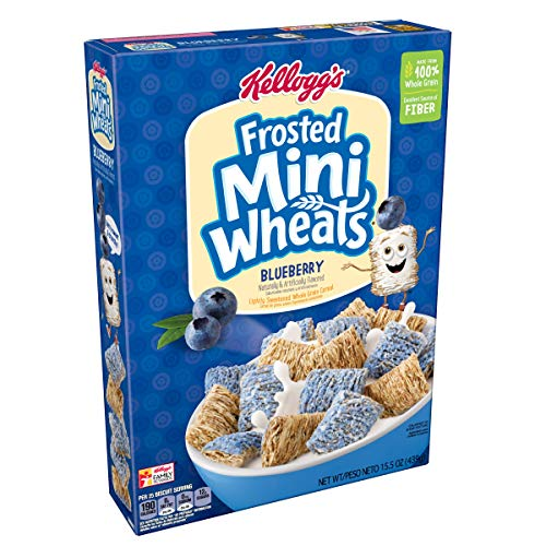 Kellogg's Breakfast Cereal, Frosted Mini-Wheats Cereal, Blueberry, Low Fat, Excellent Source of Fiber, 15.5 oz Box For Sale