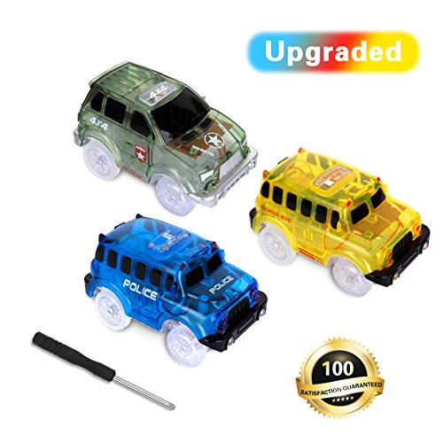 3 Pack Magic Tracks Cars and 1 Screwdriver, Cars Race Track, (Blue Police Car, Green Race Car, School Bus with 5 LED Light), Slot Car Track Set Compatible with Most - One Classic Light Neo