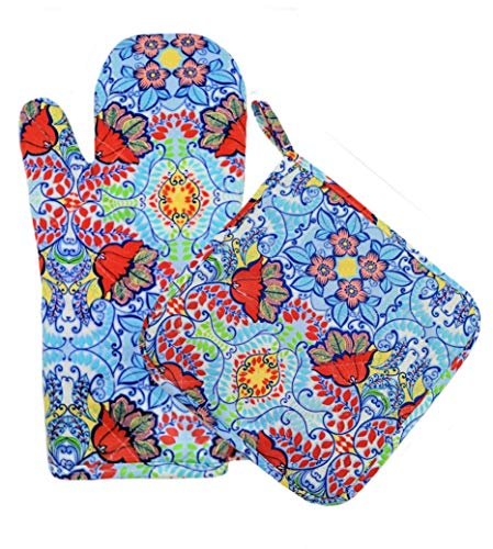 Two Lumps of Sugar Oven and Potholder and Mitts Set of 2 (Light Blue - Mitt Floral Oven