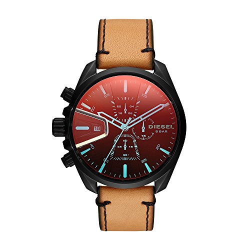 Diesel Mens Brown Leather - Diesel Men's 'Ms9 Chrono' Quartz Stainless Steel and Leather Casual Watch, Color:Brown (Model: DZ4471)