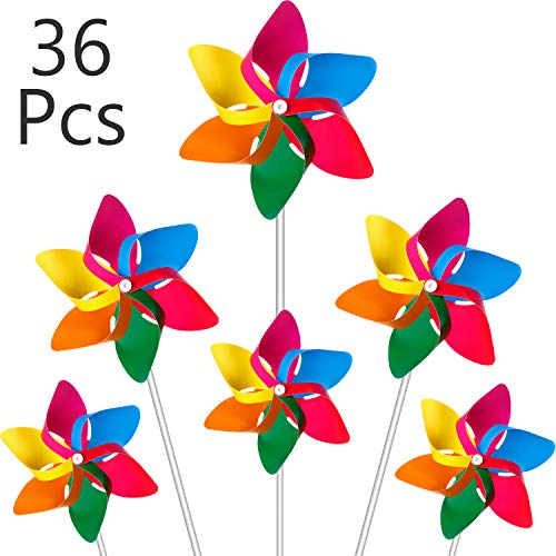 Hestya Plastic Rainbow Pinwheel, Party Pinwheels DIY Lawn Windmill Set for Teenagers Toy Garden Party Lawn Decor (36 Pieces, Multicolor B)]()
