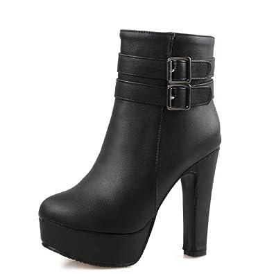 AgooLar Damen Rein PU Hoher Absatz Reißverschluss Stiefel mit Metallisch, Schwarz, 36