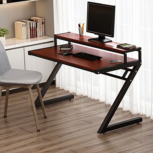 Computer Desk, Tribesigns 55'' Z-Shaped Office Desk with Hutch, Modern Style Workstation Writing Desk For Home or Office (55in Teak finish with hutch) by Tribesigns