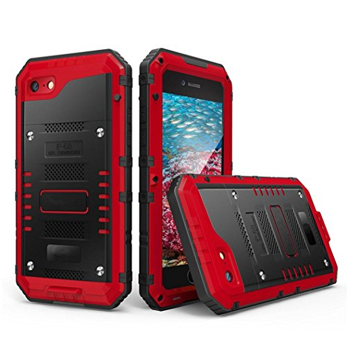 GBSELL IP68 H2O Submersible Aluminum Glass Flim Waterproof Case Cover For iphone 6 s (Red)