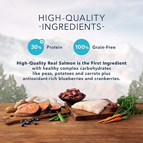 Blue Buffalo Wilderness Denali Dinner High Protein Grain Free, Natural Dry Dog Food with Wild Salmon, Venison & Halibut 22-lb