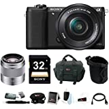 Sony Alpha a5100 24.3 Megapixel Mirrorless Interchangeable Lens Digital Camera with 16-50mm Lens (Black) with 50mm OSS Lens (Silver) & Accessory Bundle
