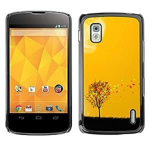 TopCaseStore / la caja del caucho duro de la cubierta de protección de la piel - Autumn Seasons Yellow Orange Tree Field Art - LG Google Nexus 4 E960