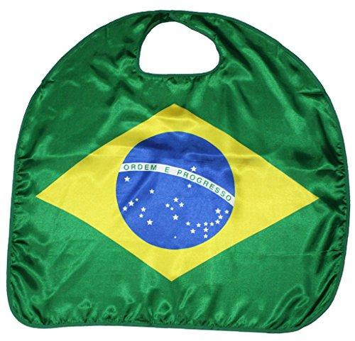 Petitebella National Theme Satin Cape Unisex Clothing Costume Accessory 3-8y (Brazil, One (National Costume Brazil Kids)