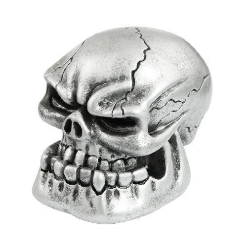 Car Vehicle Decoration Skull Head Style Gear Shift Lever Knob Silver Tone