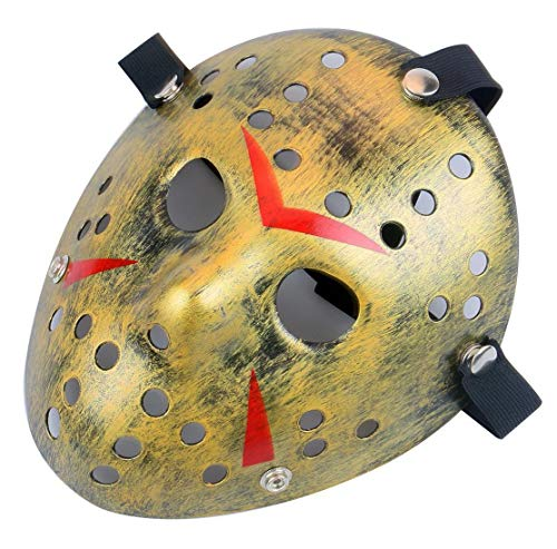 Gmasking Horror Halloween Costume Hockey Mask Party Cosplay Props (Bronze) -