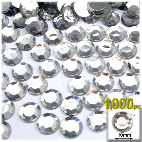 The Crafts Outlet 1000-Piece Flat Back Loose Acrylic Round Rhinestones, 10mm, Crystal Clear