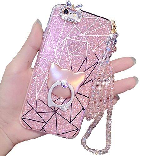 iPhone 7Plus Caso, El Lujo Bling Brillante Purpurina goma suave gel Cute Anillo Soporte–Maletín de maquillaje para...