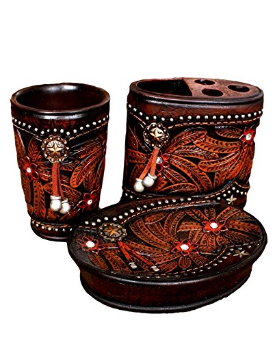 Western Lodge Theme 3 Pc Bathroom Accessory Set Tumber/Toothbrush/Soap (Star Concho) ()