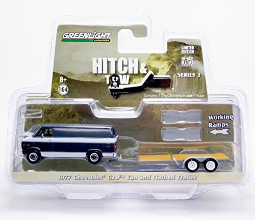 1977 Car (Greenlight Hitch & Tow Series: 1977 Chevy G-20 Van and Flatbed Trailer 1:64 Scale)