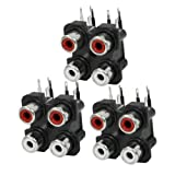 uxcell 3Pcs 4RCA PCB Mount Female Outlet Connector RCA Socket Repair Parts