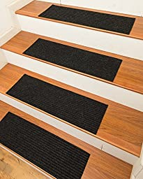 NaturalAreaRugs Halton Carpet Stair Treads Rug (Set of 13), 9-inch x 29-inch, Charcoal