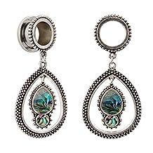 KUBOOZ Fashion Opal Dangle Alloy Pendant Ear Piercings Jewelry Stainless Steel Flare Ear Plugs Tunnels Gauges