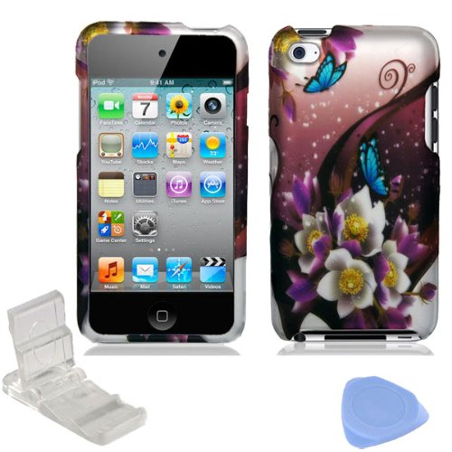 Jack Butterfly Garden (White Purple Flower Blue Butterfly Garden Design Rubberized Snap on Hard Shell Cover Protector Faceplate Case for Apple iPod Touch 4 4G 4th Generation + LCD Screen Guard Film + Mini Adjustable Phone Holder Stand + Prying Tool)