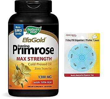 Onagra de manera natural, prensado en frío oro EPT aceite 1300mg, 120 cápsulas con