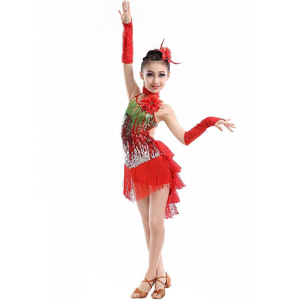Magogo Vestidos de Baile Latino Falda de Cola de Golondrina para ni/ñas ni/ños Lentejuelas Borla Trajes de Baile Rumba Salsa Carnaval Fiesta Ropa de Baile