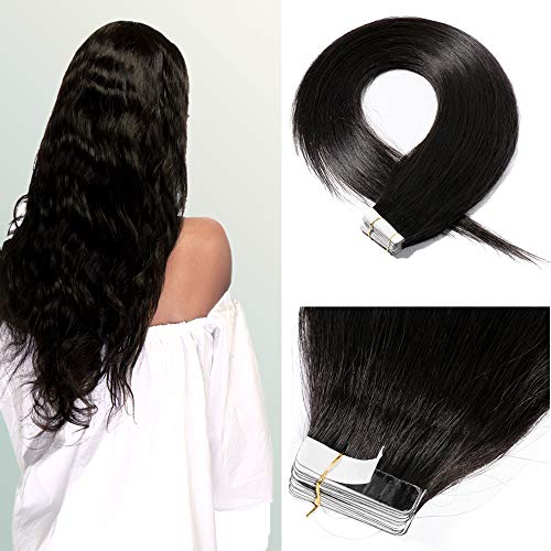 22 Inch 100g 40pcs Tape in Hair Extensions Remy Human Hair #1B Natural Black Hair Seamless Skin Weft Invisible with 10 Double Sided Tapes ()