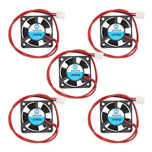 WINSINN 30mm Fan 12V Dual Ball Bearing DC Brushless Quiet Cooling 3010 30x10mm for 3D Printer Extruder Hotend V6 V5 CPU Arduino - 2Pin 0.1A 1.2W 9000+-5% RPM (Pack of 5Pcs) ()