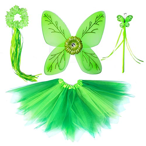 Tinkerbel Costume Dress Up Cosplay Fairy Wings for Birthday Party Tutu Set -