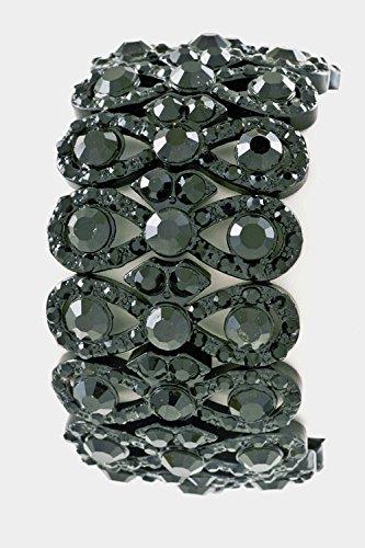 Trendy Fashion Jewelry Crystal Stacked Stretch Bracelet By Fashion Destination | (Black)