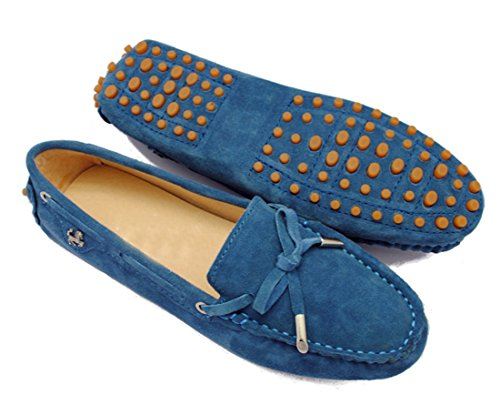 LL STUDIO Womens Casual Bowknot Dark Blue Suede/Leather Driving Walking Penny Loafers Boat Shoes 9 M US -  LL STUDIO-YIBU9602-Dark Blue-Suede41