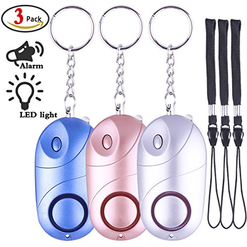 Personal Alarm, 3 Pack 130DB Personal Alarm Safety Safe Sound Emergency Self-Defense Security Alarm with LED Light for Women For Sale